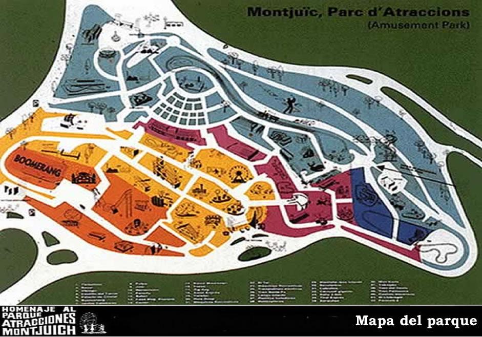 Mapa del Parque de Atracciones de Montjuic