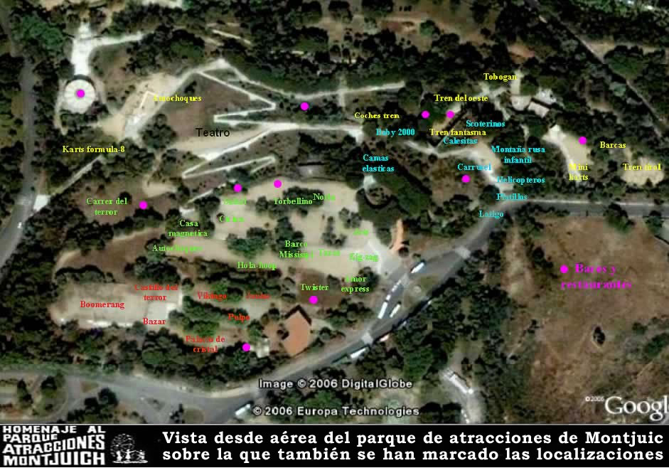 Vista aérea y mapa del Parque de Atracciones de Montjuic