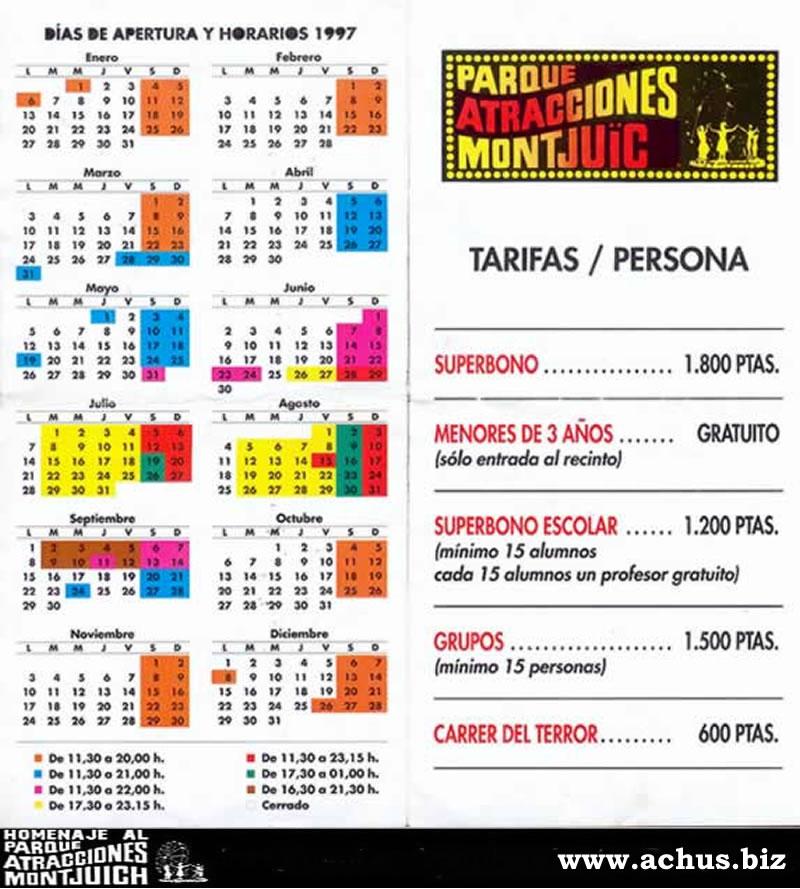 Calendario y horarios del año 1997