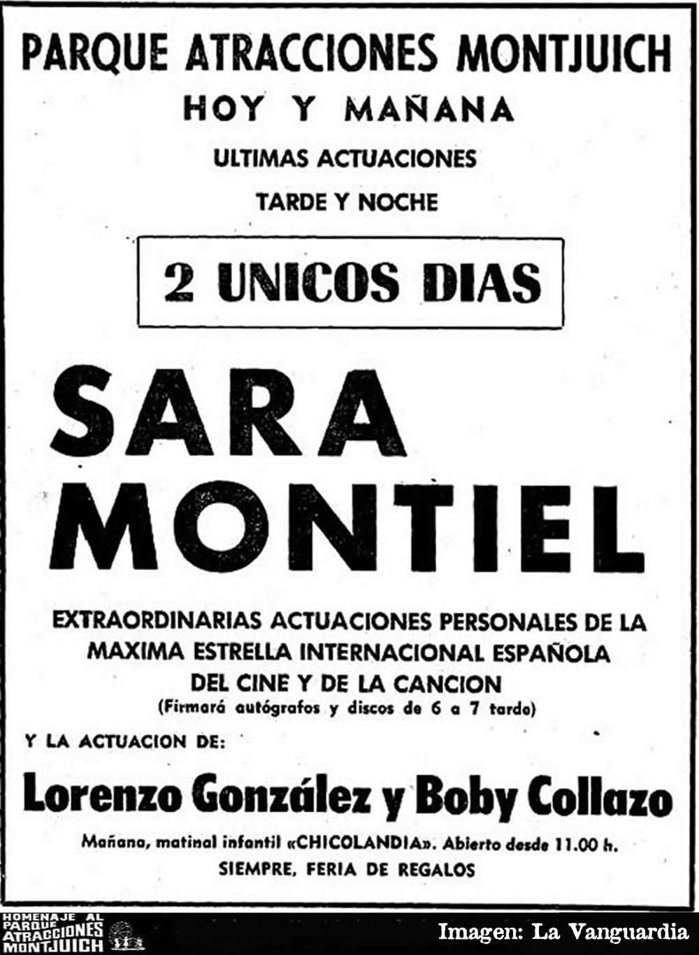 Sara Montiel en el teatro del Parque de Atracciones de Montjuich