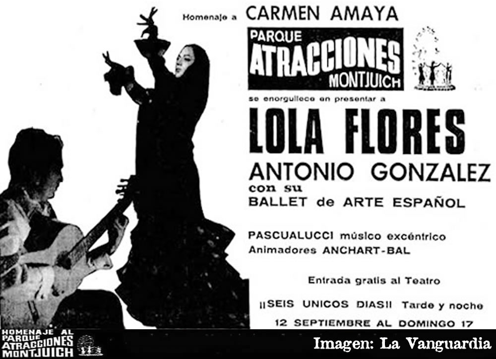Homenaje a Carmen Amaya en el Parque de Atracciones de Montjuich