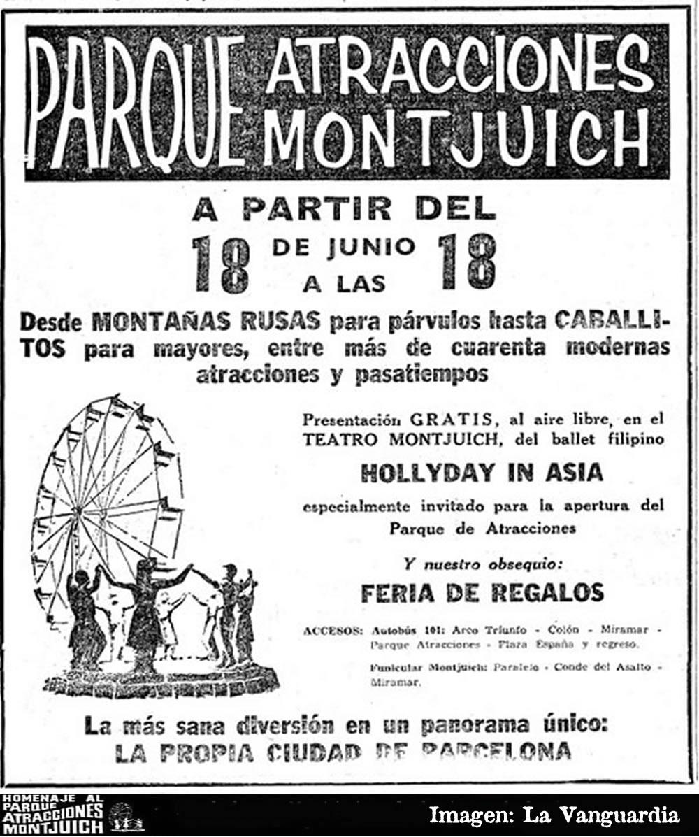 Cartel del Parque de Atracciones de Montjuich