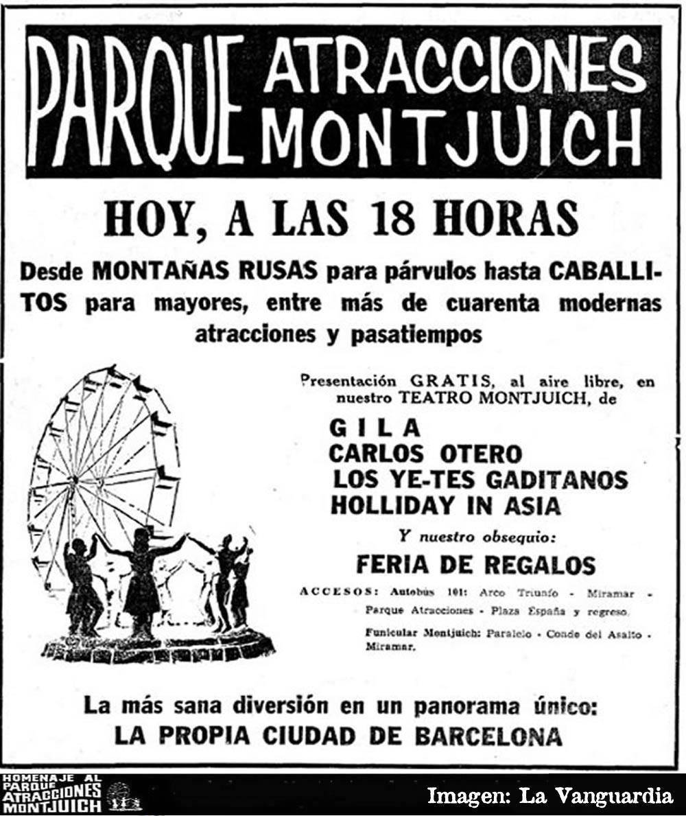 Cartel inauguración del Parque de Atracciones de Montjuich