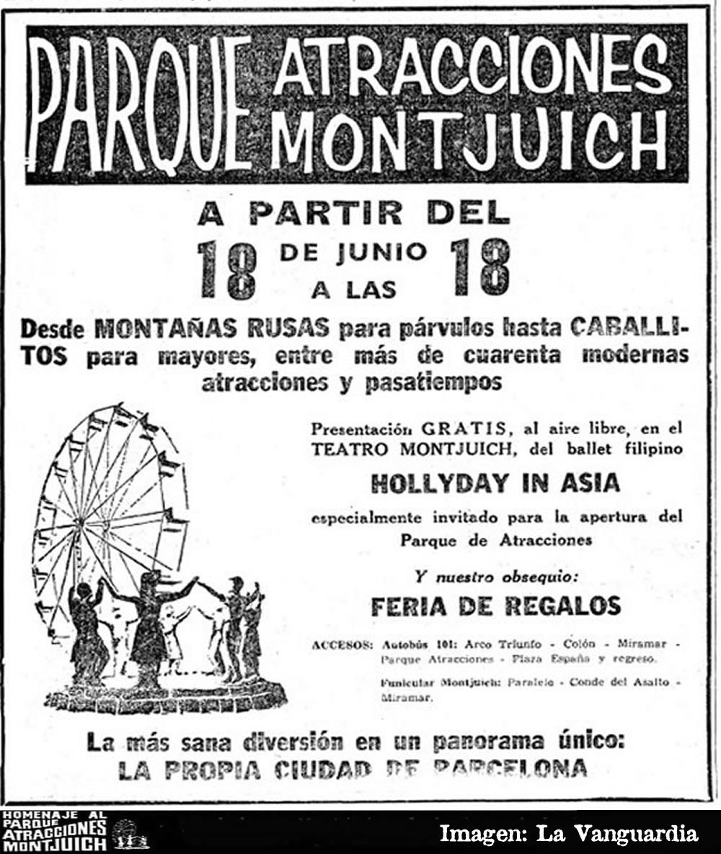 Cartel anunciando la inauguración del Parque de Atracciones de Montjuich