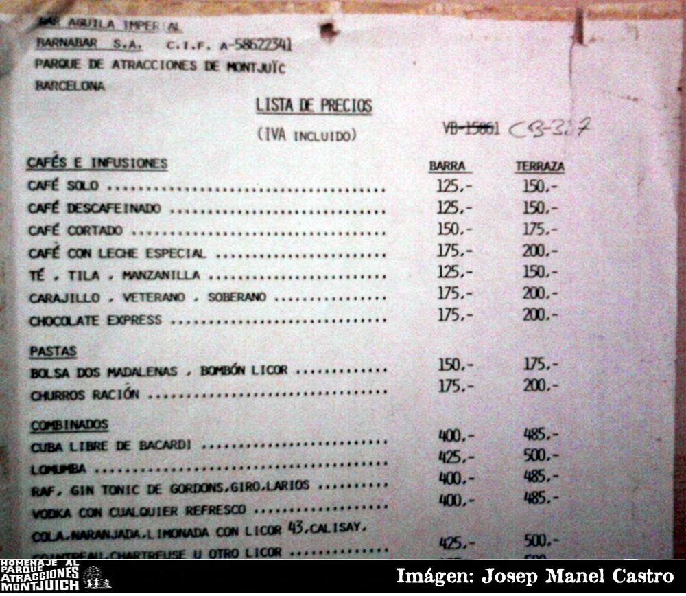 Lista de precios de Bar del teatro del año 1992