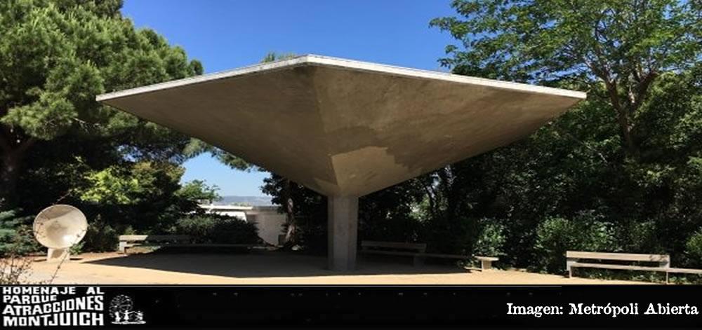 Estructura del antiguo bar Fanta del parque de atracciones de Montjuïc