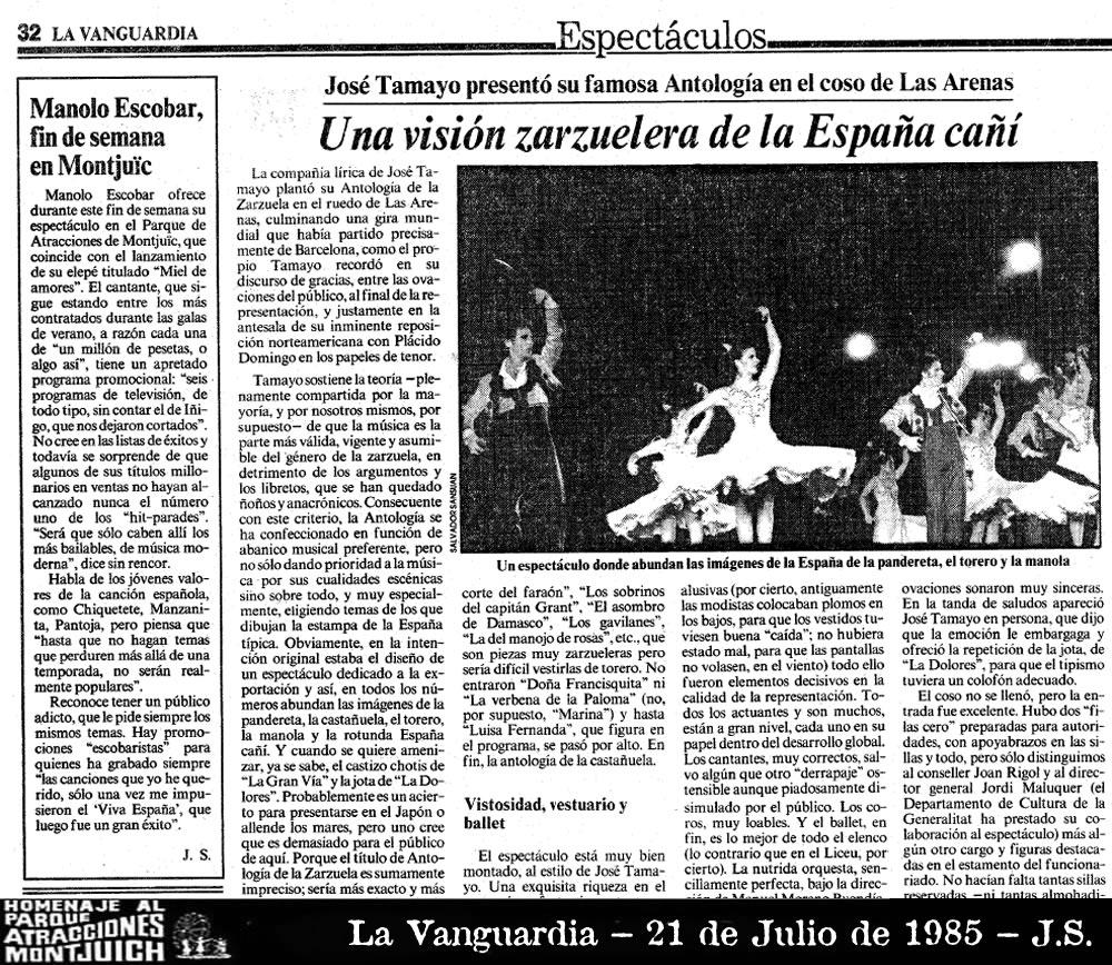 Manolo Escobar fin de semana en Parque de Atracciones de Montjuic