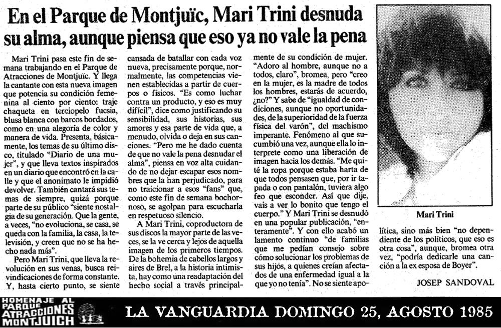 En el Parque de Montjuic, Mari Trini desnuda su alma, aunque piensa que eso ya no vale la pena