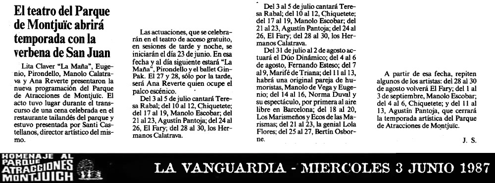 El teatro del Parque de Montjuic abrirá temporada con la verbena de San Juan