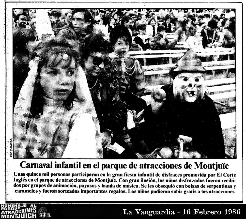 Carnaval infantil en el parque de atracciones de Montjuic