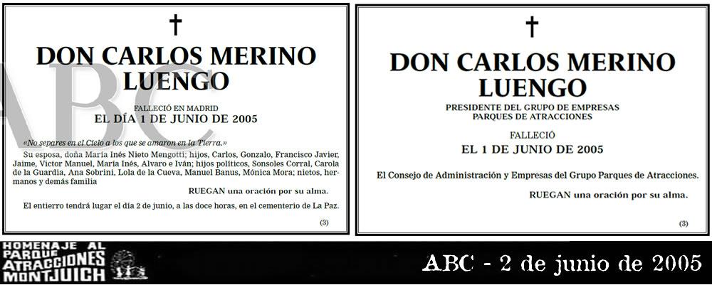 Esquela de Carlos Merino Luengo