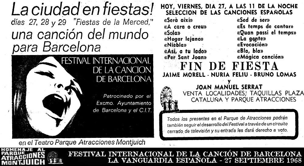 Festival Internacional de la Canción de Barcelona - 27 septiembre 1968