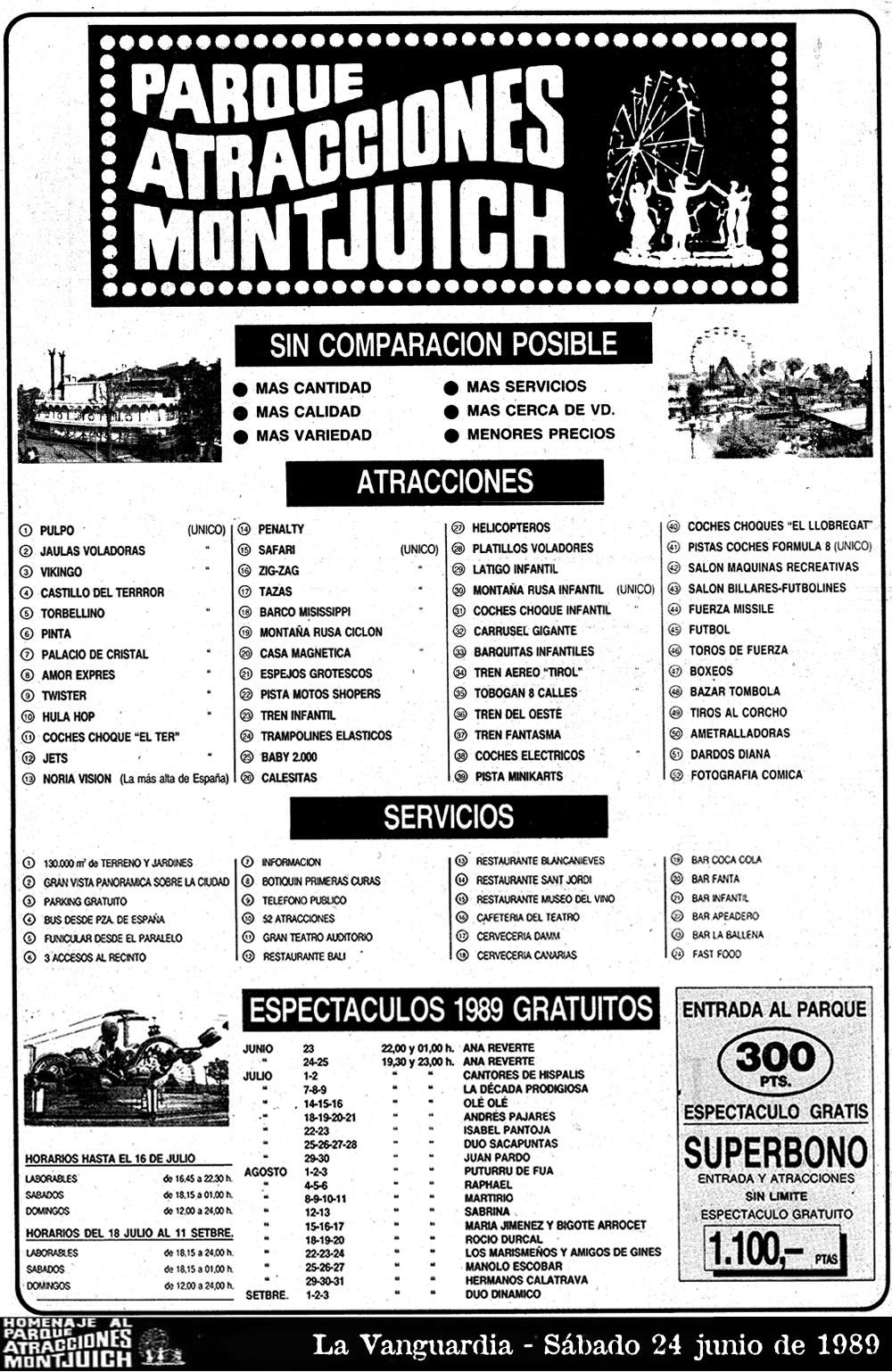 Listado de atracciones de 1989