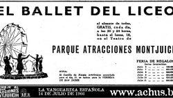 Cartel del Ballet del Liceo 1966 en el Parque de Atracciones de Montjuic